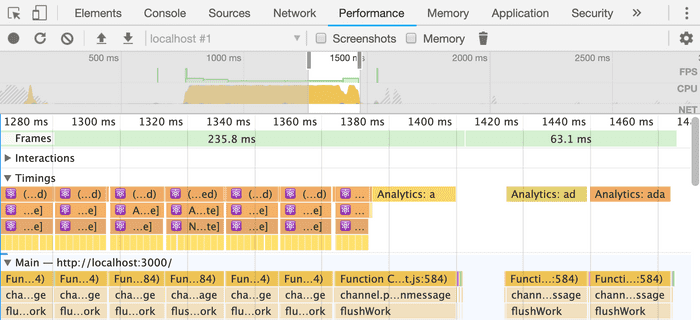 Screenshot of Chrome DevTools that show that React breaks the rendering work down into small chunks. Analytics are sent at the end after all rendering work has completed.